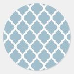 Aquamarine Moroccan Tile Trellis Classic Round Sticker
