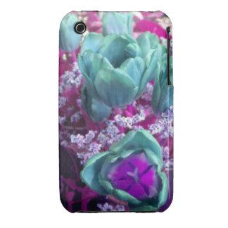 Aquamarine N Purple Tulips iPhone 3 case
