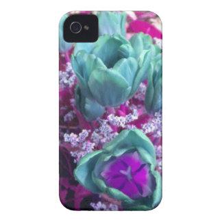 Aquamarine N Purple Tulips iPhone 4 case