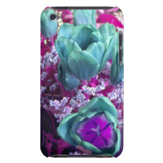 Aquamarine N Purple Tulips iPod Touch case