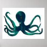 Aquamarine Octopus Poster