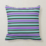 [ Thumbnail: Aquamarine, Orchid, Mint Cream, Slate Gray & Black Throw Pillow ]