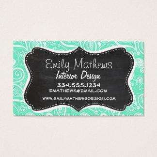Aquamarine Paisley; Retro Chalkboard Business Card