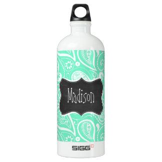 Aquamarine Paisley; Retro Chalkboard SIGG Traveler 1.0L Water Bottle