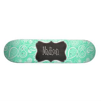 Aquamarine Paisley; Retro Chalkboard Skateboard