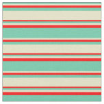 [ Thumbnail: Aquamarine, Pale Goldenrod & Red Pattern Fabric ]