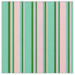 [ Thumbnail: Aquamarine, Pink, and Dark Green Colored Stripes Fabric ]