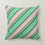 [ Thumbnail: Aquamarine, Pink, and Dark Green Colored Stripes Throw Pillow ]