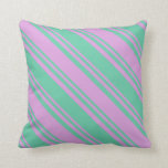 [ Thumbnail: Aquamarine & Plum Colored Pattern Throw Pillow ]