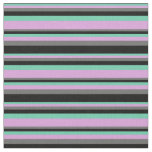 [ Thumbnail: Aquamarine, Plum, Dim Grey, and Black Colored Fabric ]