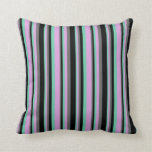 [ Thumbnail: Aquamarine, Plum, Dim Grey, and Black Colored Throw Pillow ]