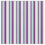 [ Thumbnail: Aquamarine, Purple, and Light Cyan Pattern Fabric ]