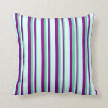 [ Thumbnail: Aquamarine, Purple, and Light Cyan Pattern Pillow ]