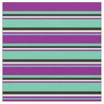[ Thumbnail: Aquamarine, Purple, Beige, and Black Lines Fabric ]
