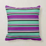 [ Thumbnail: Aquamarine, Purple, Beige, and Black Lines Pillow ]