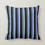 [ Thumbnail: Aquamarine, Purple, Blue, Mint Cream, and Black Throw Pillow ]