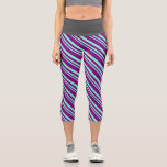 [ Thumbnail: Aquamarine & Purple Colored Lined/Striped Pattern Leggings ]