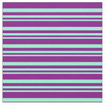 [ Thumbnail: Aquamarine & Purple Colored Lined/Striped Pattern Fabric ]