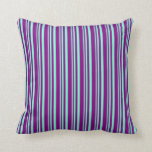 [ Thumbnail: Aquamarine & Purple Colored Lined/Striped Pattern Throw Pillow ]