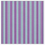 [ Thumbnail: Aquamarine & Purple Colored Stripes Pattern Fabric ]