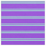[ Thumbnail: Aquamarine & Purple Lines Pattern Fabric ]