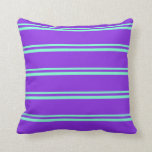 [ Thumbnail: Aquamarine & Purple Lines Pattern Throw Pillow ]