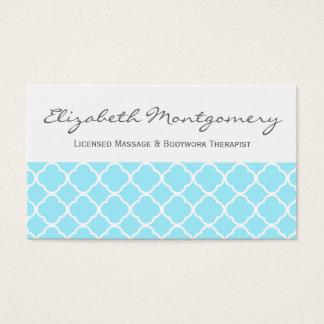 Aquamarine Quatrefoil Modern Appointment Business Business Card