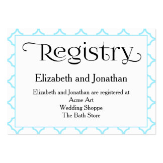 Aquamarine Quatrefoil Wedding Registry Card Pack Of Chubby Business Cards