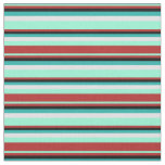 [ Thumbnail: Aquamarine, Red, Black, Light Sea Green & Lavender Fabric ]