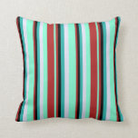 [ Thumbnail: Aquamarine, Red, Black, Light Sea Green & Lavender Throw Pillow ]