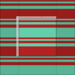 [ Thumbnail: Aquamarine & Red Colored Pattern of Stripes Fabric ]