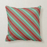 [ Thumbnail: Aquamarine & Red Colored Pattern of Stripes Pillow ]