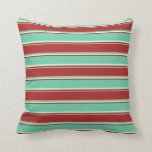 [ Thumbnail: Aquamarine, Red & Light Yellow Colored Pattern Throw Pillow ]