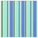 [ Thumbnail: Aquamarine, Royal Blue, Forest Green, and Lavender Fabric ]