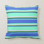 [ Thumbnail: Aquamarine, Royal Blue, Forest Green, and Lavender Throw Pillow ]