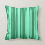 [ Thumbnail: Aquamarine & Sea Green Colored Stripes Pillow ]