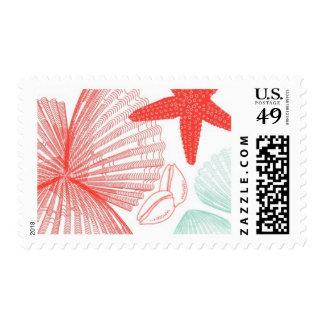 Aquamarine Sea Shells A by Ceci New York Postage Stamp