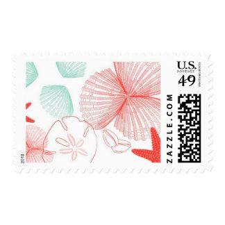 Aquamarine Sea Shells B by Ceci New York Postage Stamp