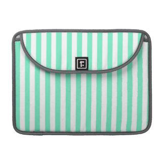 Aquamarine Seafoam Green Stripes MacBook Pro Sleeve