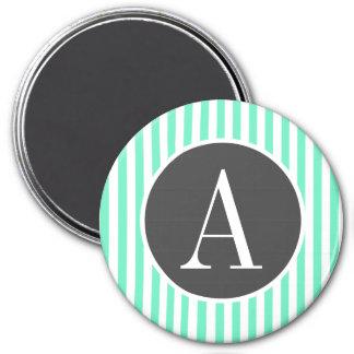 Aquamarine Seafoam Green Stripes Fridge Magnet