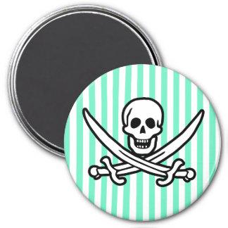 Aquamarine Seafoam Green Stripes; Pirate Magnets