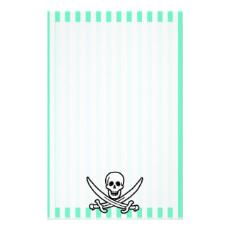 Aquamarine Seafoam Green Stripes Pirate Stationery Paper