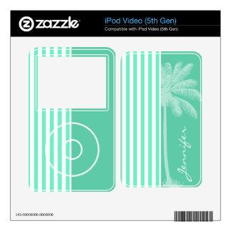 Aquamarine Seafoam Green Stripes; Retro Palm Tree Skin For iPod Video