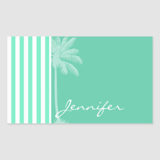 Aquamarine Seafoam Green Stripes; Retro Palm Tree Rectangular Sticker