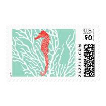 Aquamarine Seahorse B by Ceci New York Postage