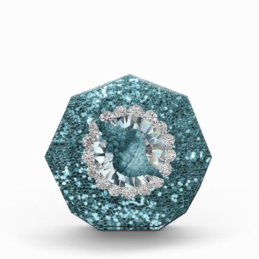 Beach Themed Aquamarine Seashell Jewel Faux Glitter Award
