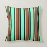 [ Thumbnail: Aquamarine, Sienna & Black Colored Pattern Pillow ]