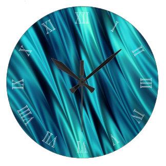 Aquamarine silky waves large clock