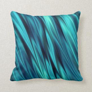 Aquamarine silky waves throw pillow