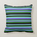 [ Thumbnail: Aquamarine, Slate Blue, Forest Green, and Black Throw Pillow ]